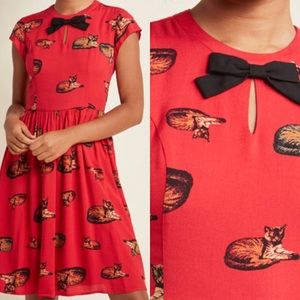 ModCloth Bow Front A-Line Dress in Crimson Cat Med